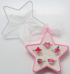 粉色葱粉可爱儿童时尚戒指套装