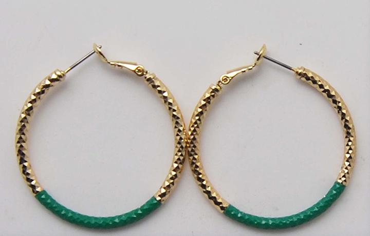 金色绿色双色铝制耳圈