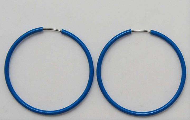 宝石蓝色光面耳圈