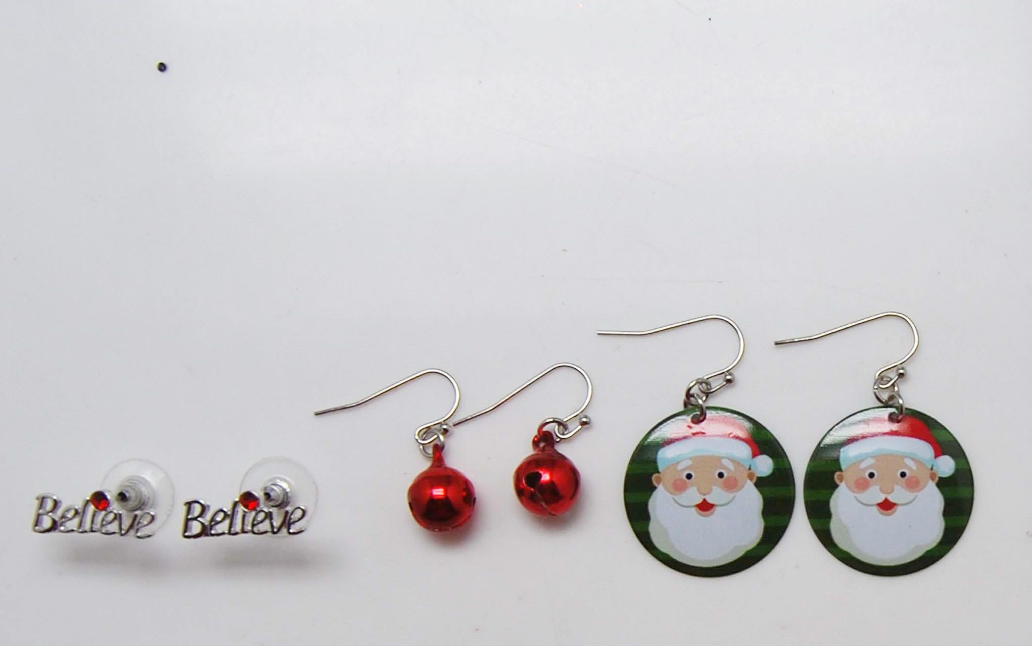 三对一套铃铛印刷圣诞节耳环
