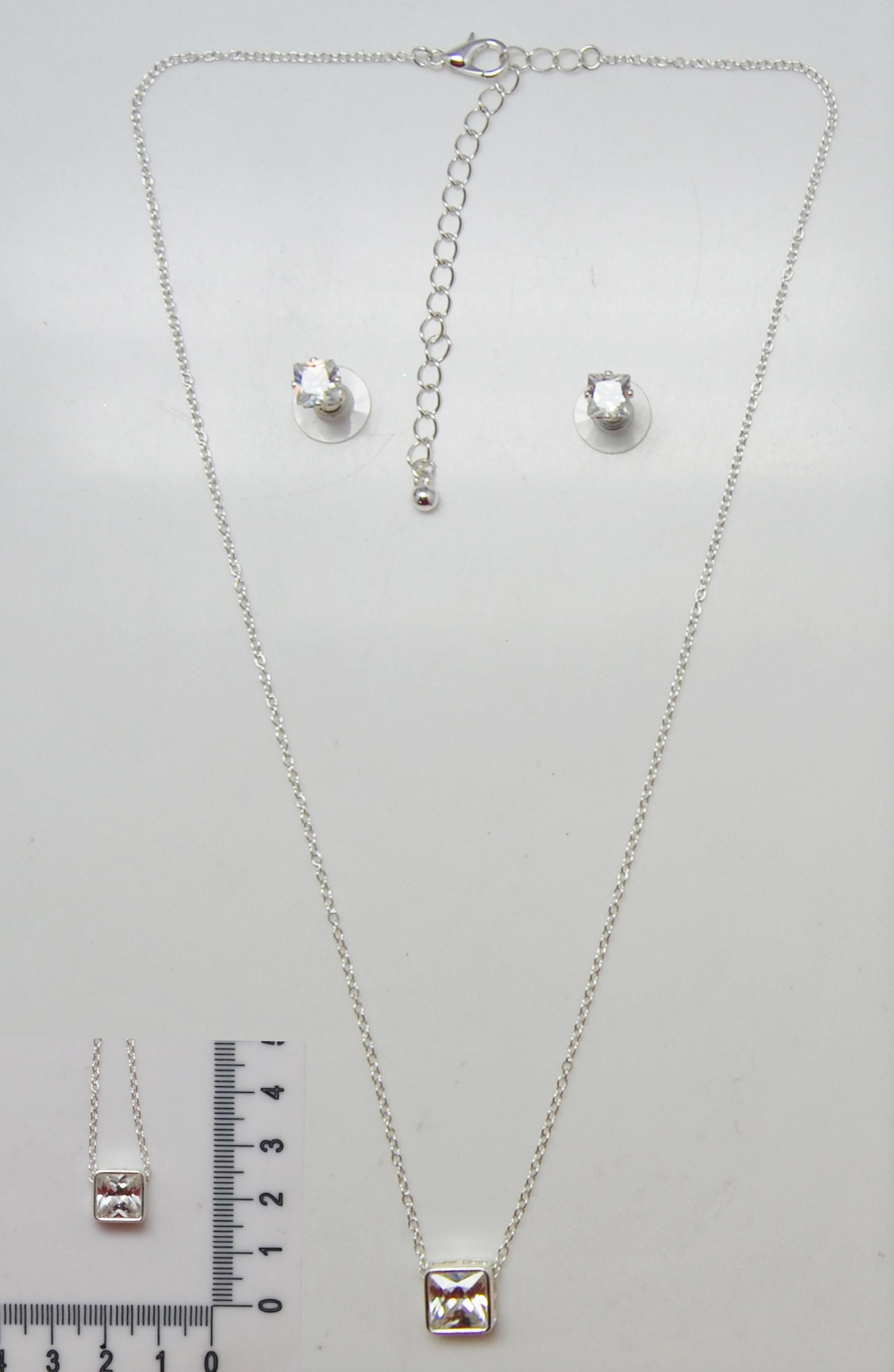 小巧精美方形锆石耳钉项链套装