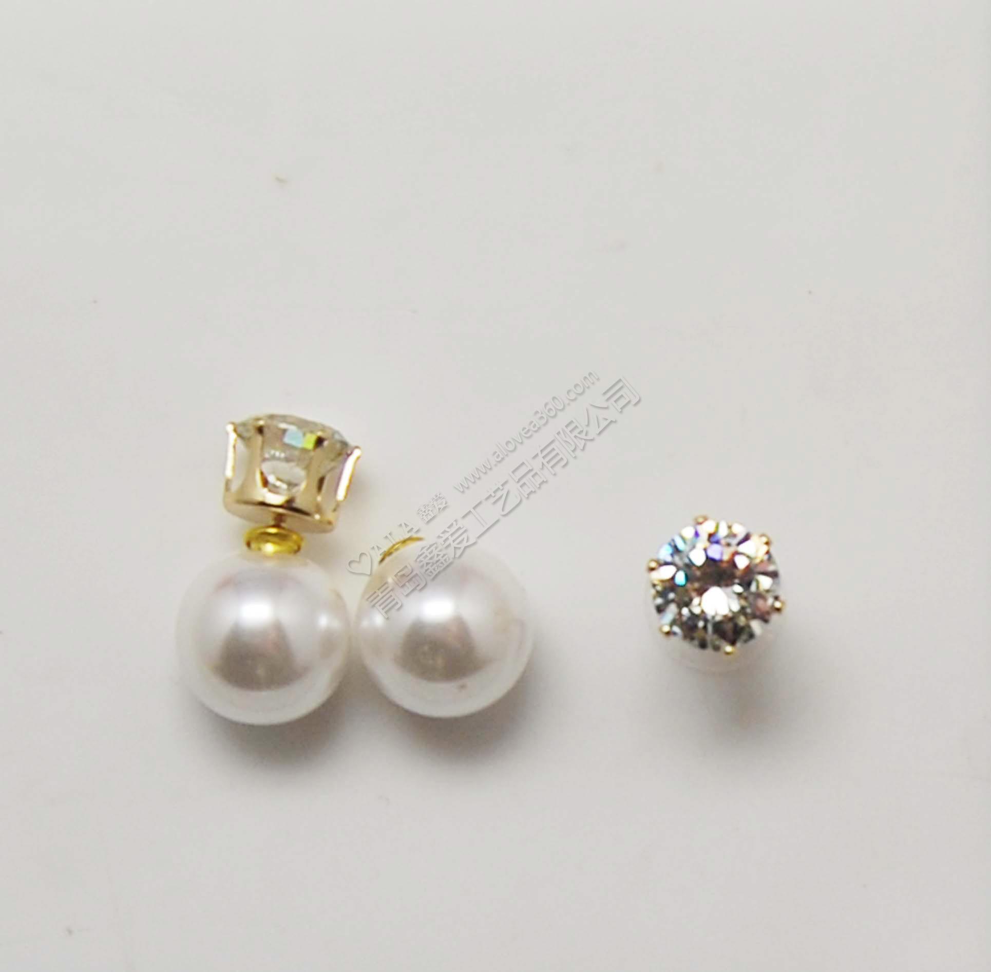 韩版简约圆形锆石珍珠前后耳钉