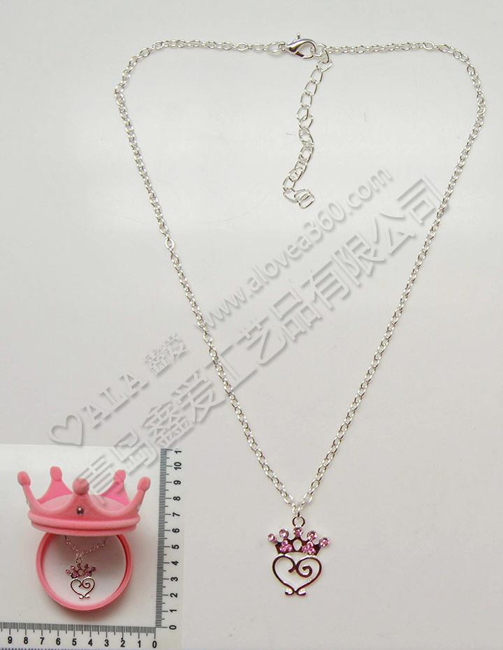 皇冠绒盒精美皇冠吊坠时尚儿童项链