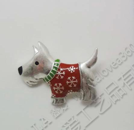 圣诞节快乐小狗时尚胸针