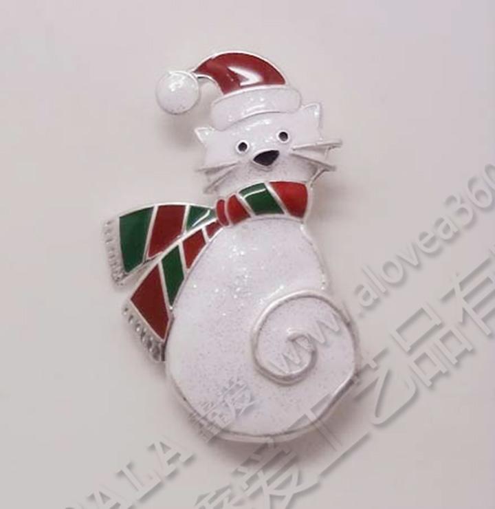 圣诞节快乐小猫时尚胸针