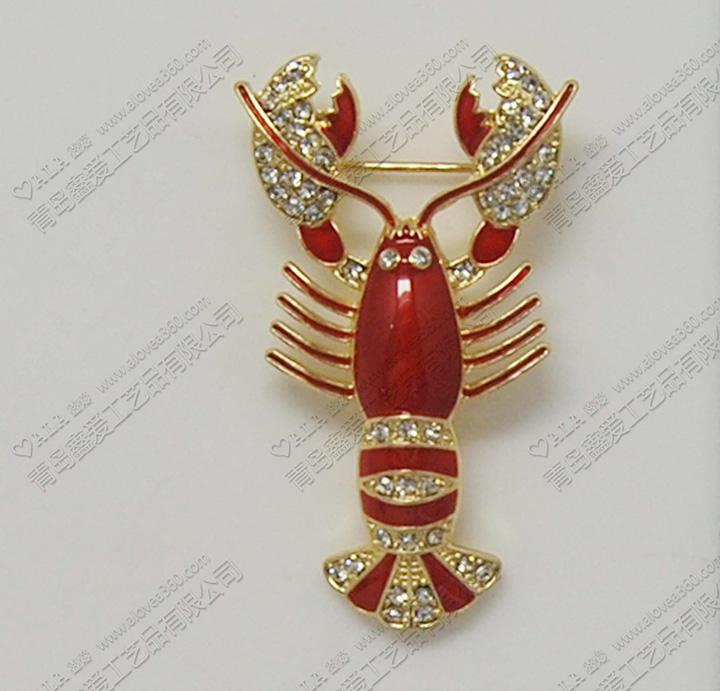 火红大虾时尚动物胸针