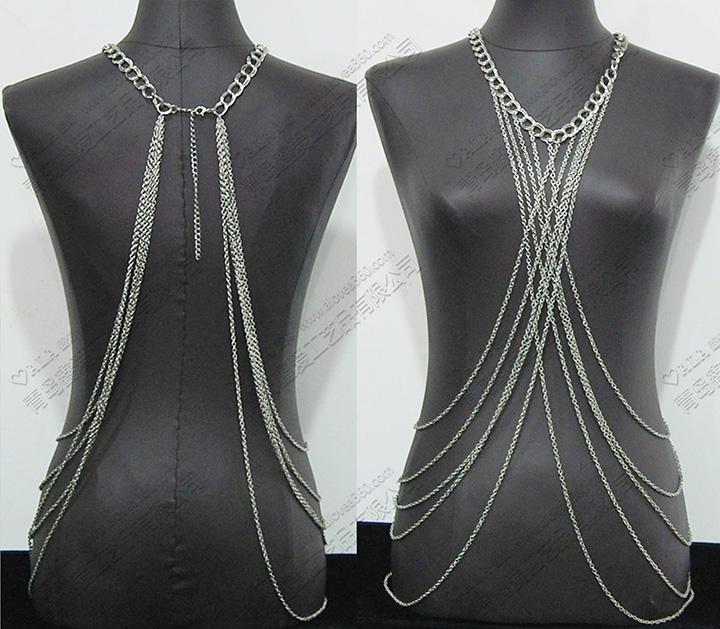 简约百搭多层链条交叉时尚身体链