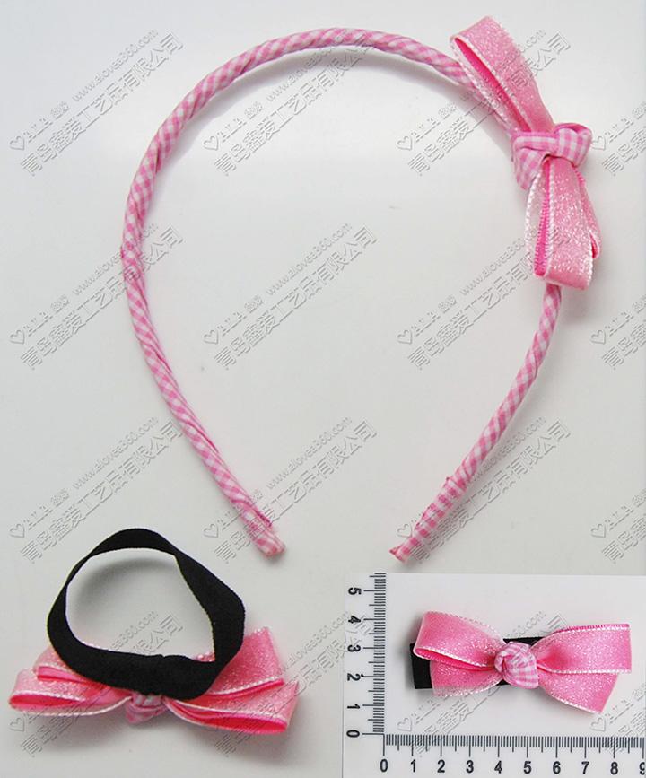 粉红网格可爱蝴蝶结发饰套装