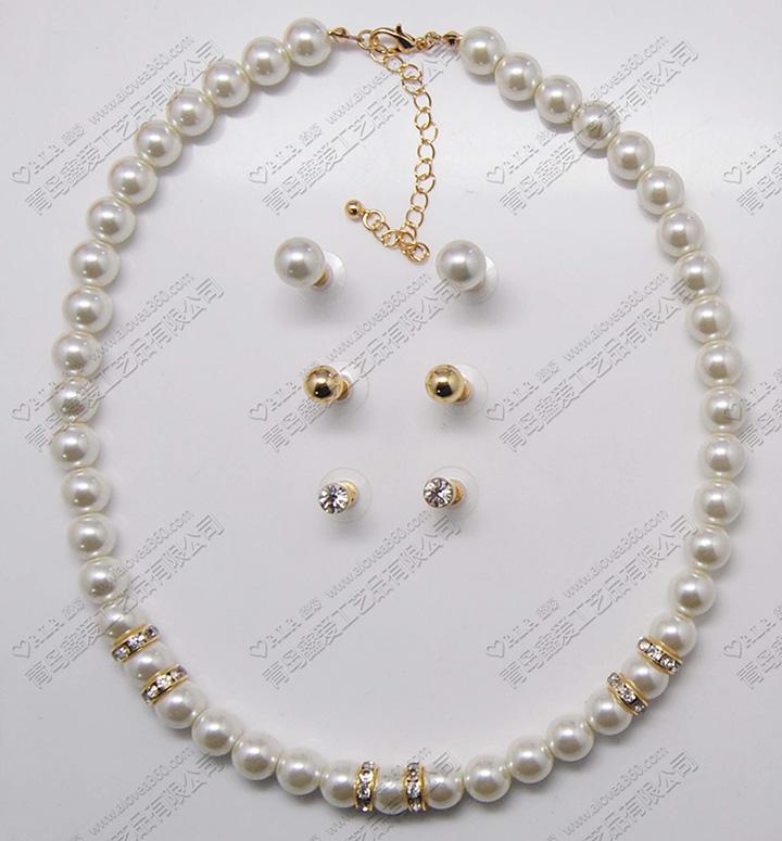 简单精致的单条珍珠项链耳环套装