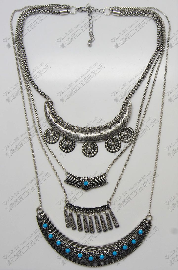 多层土耳其蓝色复古风锌合金时尚项链