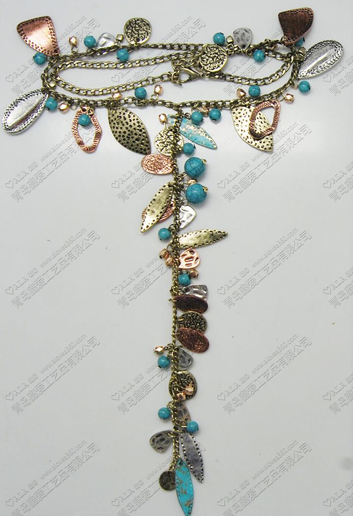 金属复古波西米亚风土耳其蓝色珠子时尚多吊坠长项链