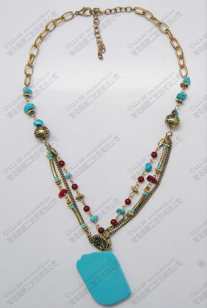 土耳其蓝色四方石头吊坠波西米亚民族风时尚项链