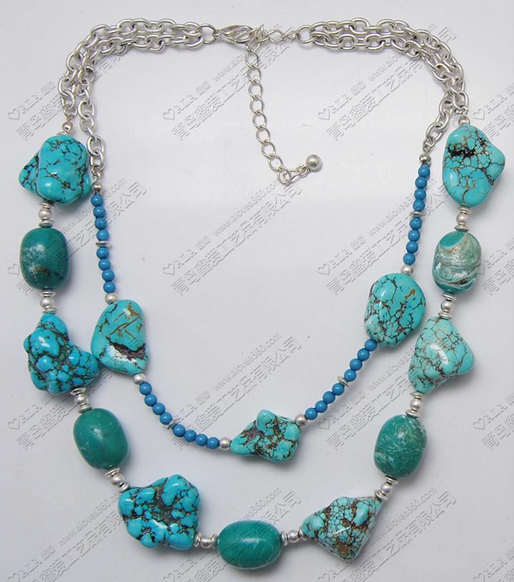 土耳其蓝色裂纹石头双层时尚短项链