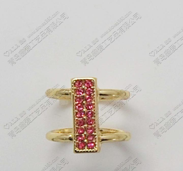 水钻双排戒指锌合金时尚百搭韩版不可调节戒指