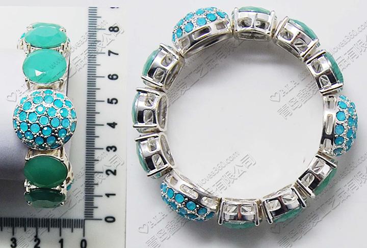 艳丽蓝色系镶嵌树脂片弹力手链