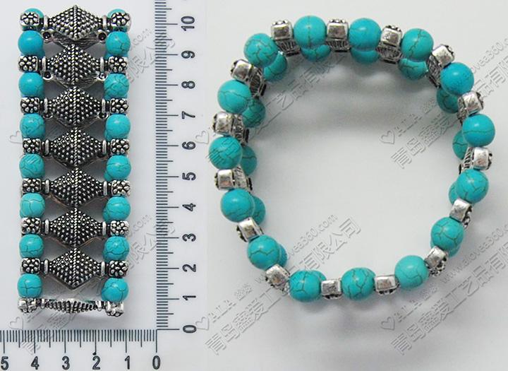 裂纹土耳其蓝色珠子复古系列弹力手链