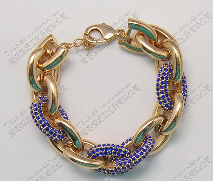 出口欧美蓝水钻链子扣百搭瑞丽时尚手链