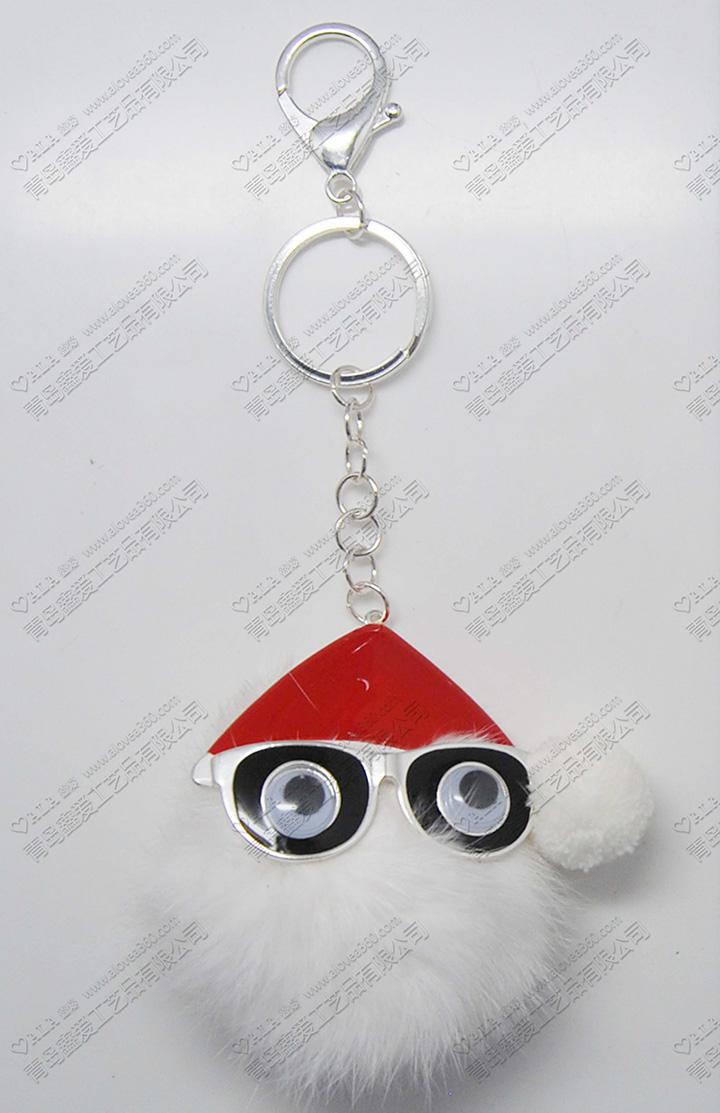 可爱圣诞帽眼镜POM POM毛毛球吊坠圣诞节系列钥匙扣