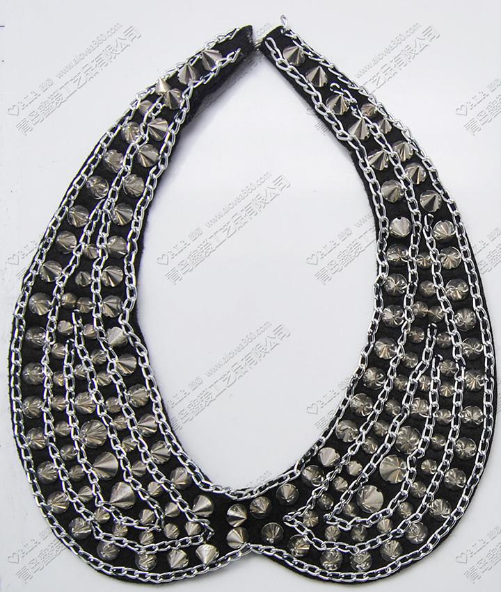 金属尖锥体黑色编织夸张时尚衣领颈链