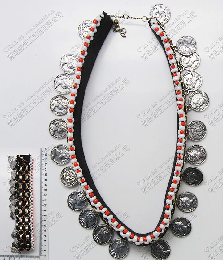民族风黑白系列美女人头像圆片吊坠颈链