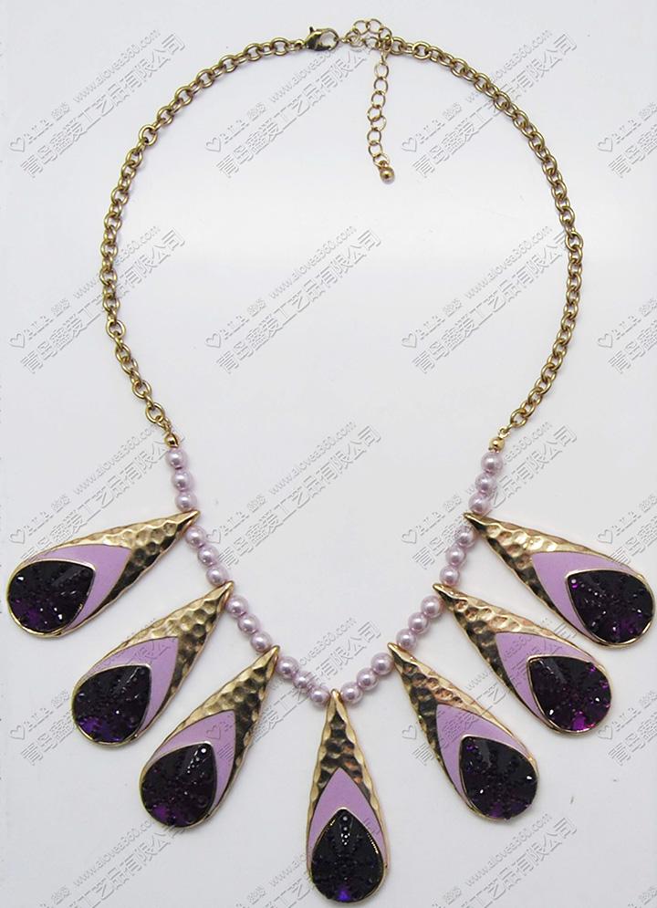 紫色系典雅珍珠水滴金属吊坠时尚精美项链