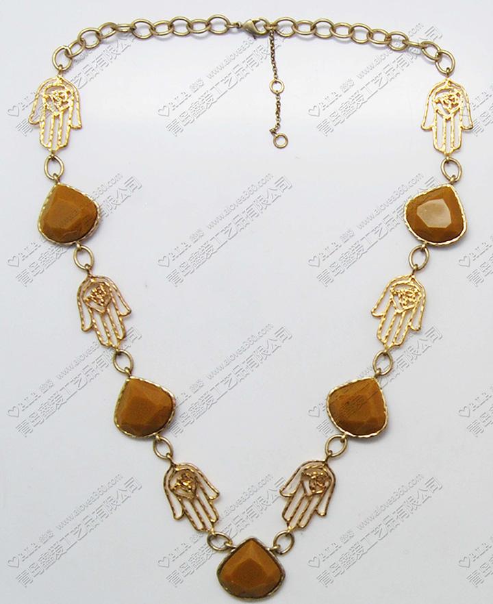 镂空手掌轻巧金色精美时尚项链