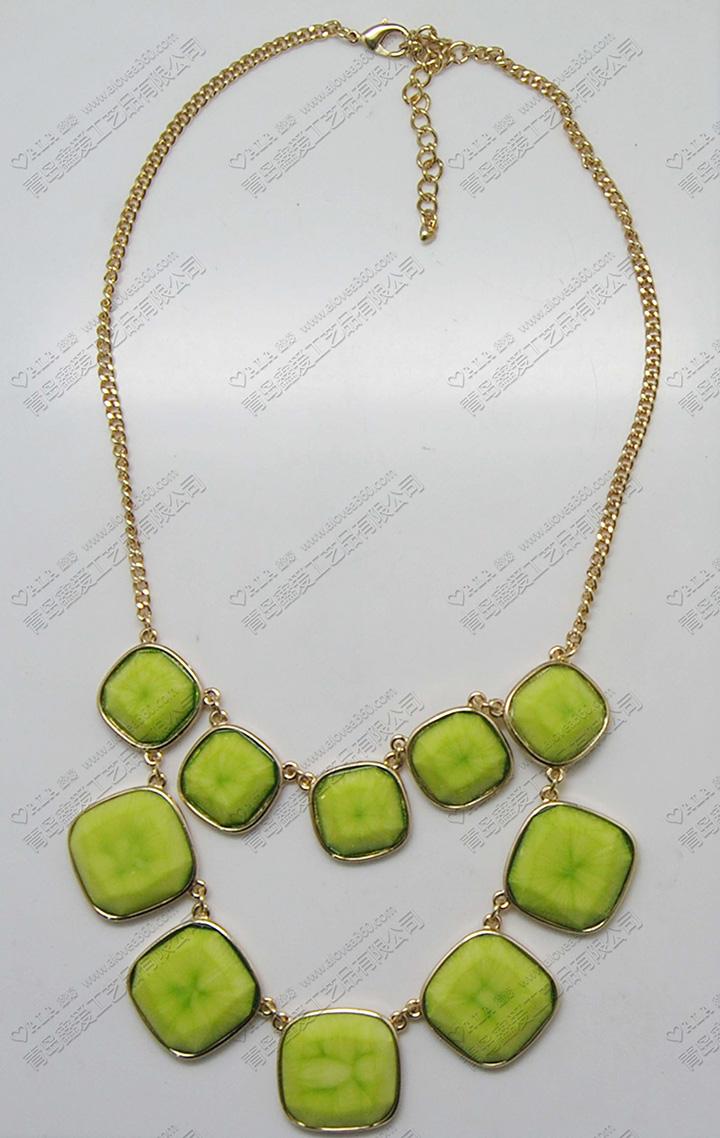 绿色系清新菱形吊坠时尚项链
