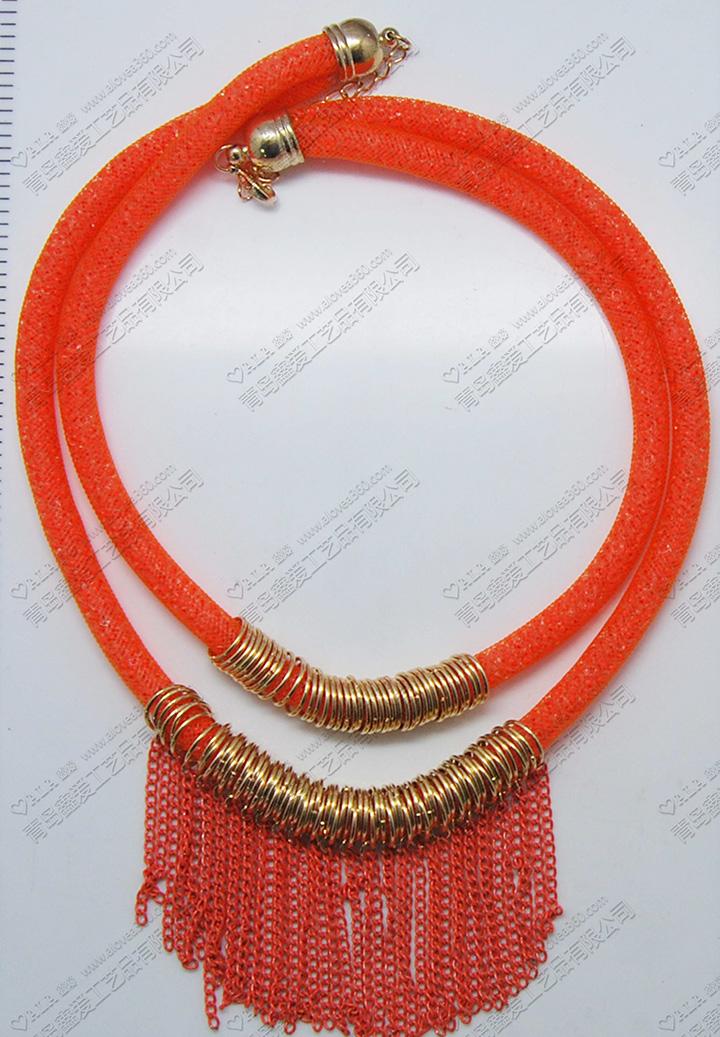喜庆红色双层链条穗时尚项链