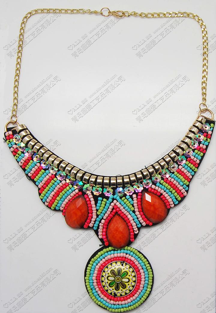 波西米亚民族风夸张米珠大吊坠时尚项链