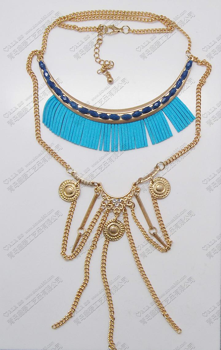 蓝色系列夸张多层时尚长项链