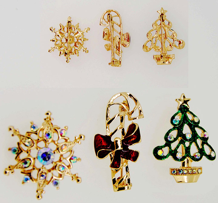 金色圣诞系列圣诞树圣诞拐杖雪花三个一套精美时尚胸针