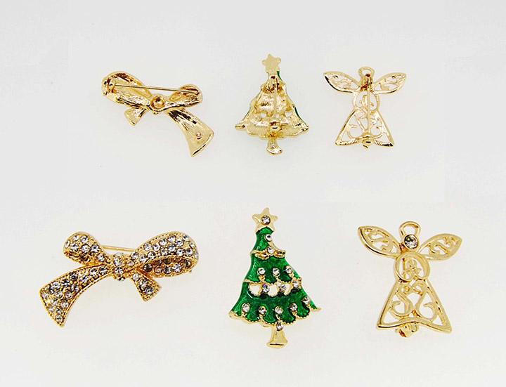 圣诞树蝴蝶结小天使三个一套圣诞系列精美时尚胸针