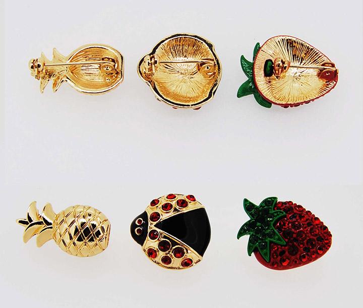 金色菠萝七星瓢虫草莓精美日韩时尚胸针