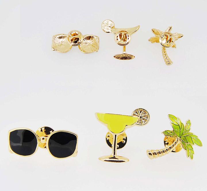 眼镜香槟高脚杯椰子树精美时尚夏季胸针