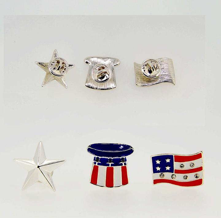 五角星美国国旗小帽子时尚欧美胸针