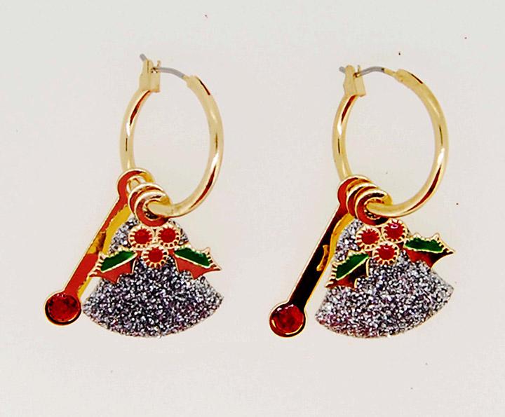 圆形圈树叶圣诞节系列欧美时尚耳环