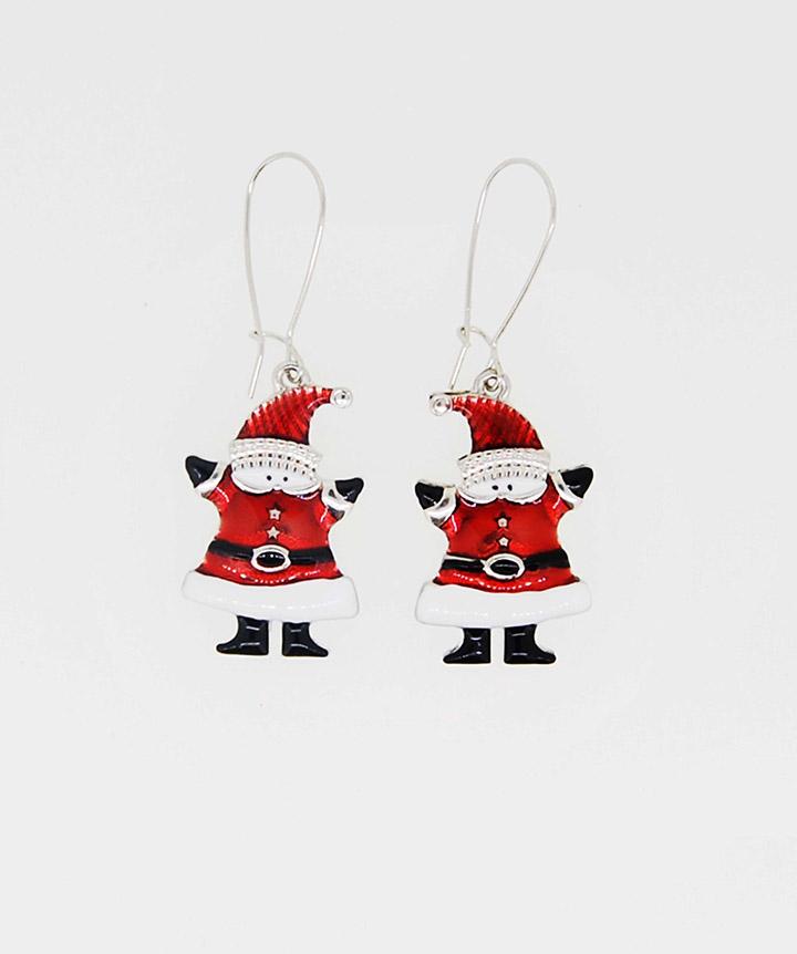 红色小圣诞老人雪人时尚耳线耳环