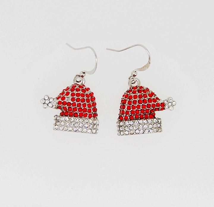 满钻圣诞节系列小帽时尚系列鱼钩耳环