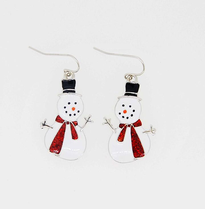 小雪人圣诞系列精美小巧鱼钩耳环