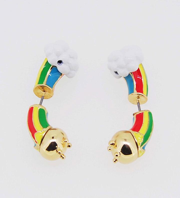 可爱精美彩虹系列前后戴时尚耳环
