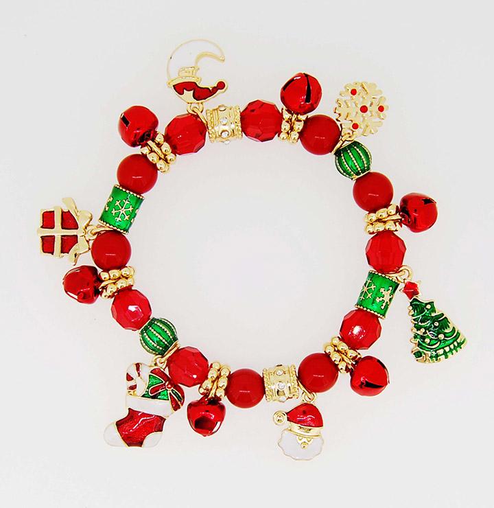 饰品工厂欧美铃铛月亮圣诞树圣诞袜吊坠珠子弹力手链批发定制