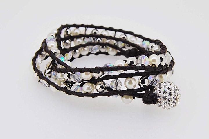 饰品厂家手工编织珍珠多面车轮珠手链多层缠绕百搭手链批发定制