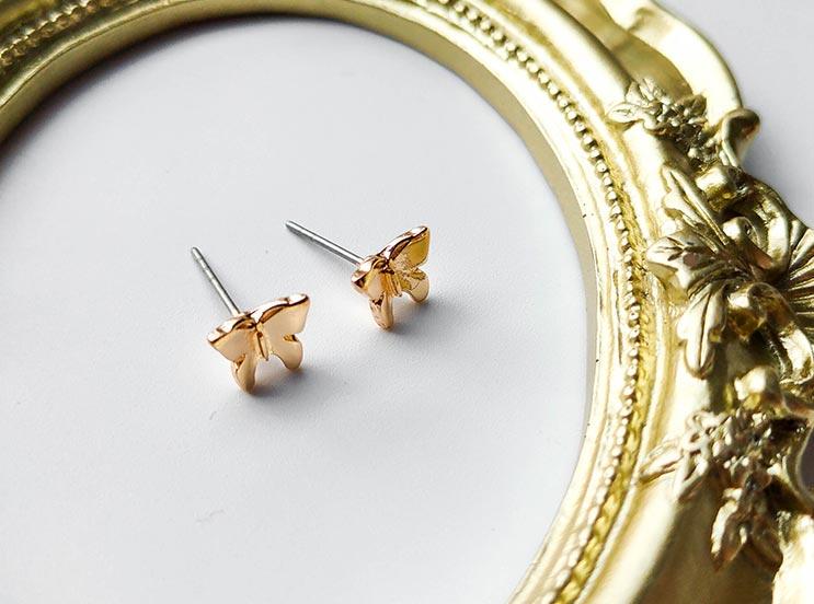 金色立体蝴蝶元素耳钉饰品批发