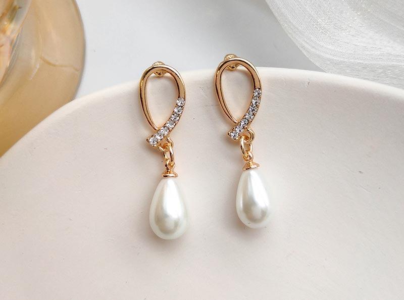 优雅简约水滴珍珠耳环饰品工厂